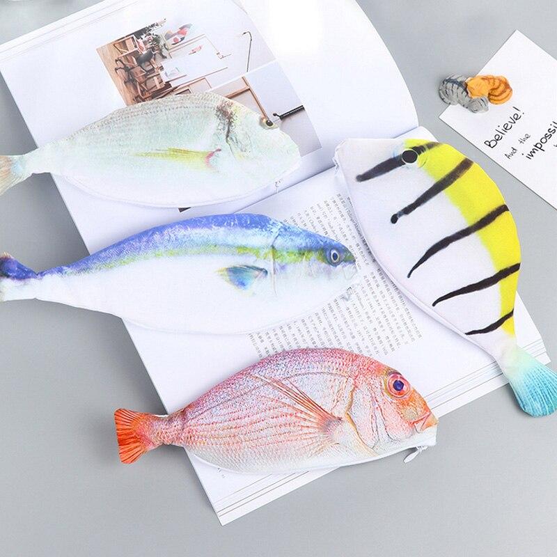 Animal Big Simulation Fish Pencil Case Korean Floral Dot Canvas Big Capacity Pencil Bag School Pencil Case School Supplies
