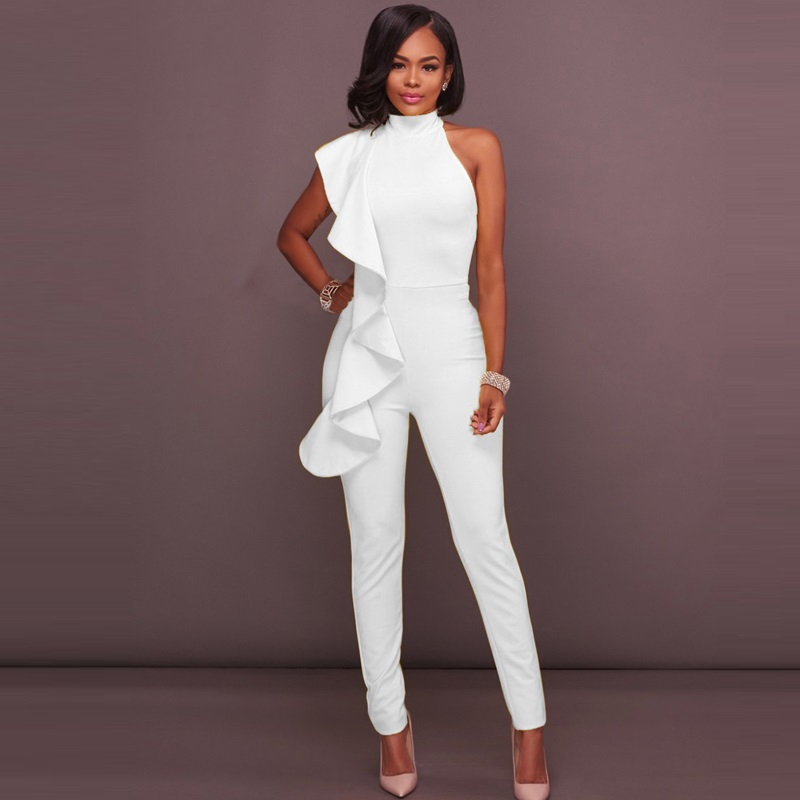 Rompers Womens Summer Jumpsuit 2018 Spring Summer One Piece Set Women Fashion Elegant Sleeveless Ruffle Sexy