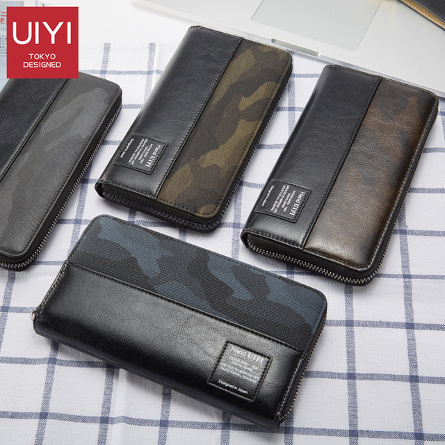 UIYI PU Men Long Wallets Casual Patchwork Camouflage Black Wallet Men Purse Clutch Bag Card Holderzipper Wallet Coins Pockets