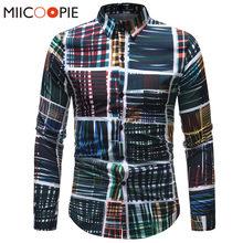 Más tamaño 5XL primavera hombres camisa Color mezclado Graffiti Plaid  impreso manga larga a cuadros camisas 58455aeebe3