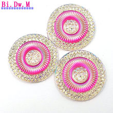 ROUND Resin Fuchsia Pink AB Sewing Bling Decorative Rhinestone Sew Crystals  Stones Strass Crystal 25mm For Evening Wedding Dress ab3421d77e5c