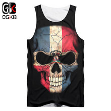 OGKB Unisex Hiphop O-neck Sleeveless Shirts 2018 Summer Tops Women/men Cool Print Flag Skull 3d Tank Top Man Brand Gyms Clothes(China)