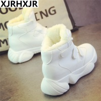 Black White Plush woman's sneakers winter warm dad shoes Thick Platform fashion comfortable Clunky High Top sneakers women shoes