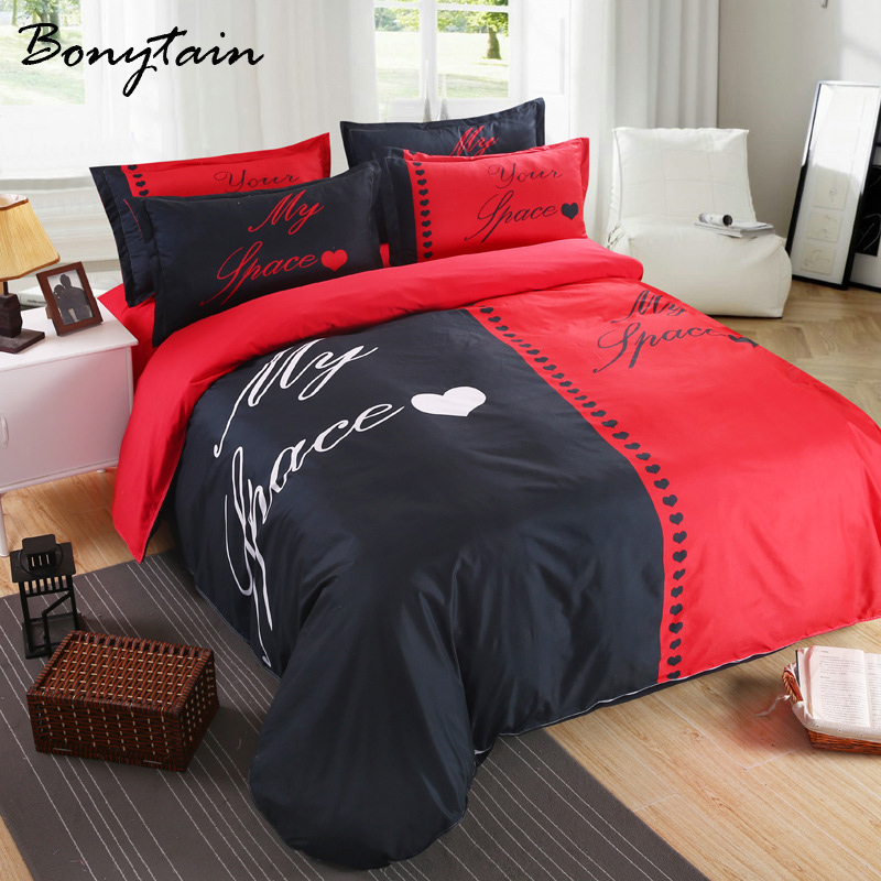 buy 3 4pcs 1 set her his sidequeen king size duvet cover bedsheet pillowcase 3d. Black Bedroom Furniture Sets. Home Design Ideas