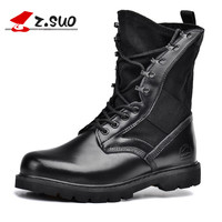 Z Suo Women S Boots And The Calf In Tube Of Tactical Boots Black Fabric Surface