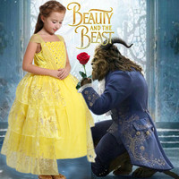 Beauty And The Beast Costumes Women Child Belle Dresses Party Fancy Girls Flower Yellow Long Princess