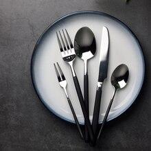 24pcs Western Royal Black Cutlery Set 18/10 Stainless Steel Dinnerware Sets Top Grade Food Safe Steel Restaurant Flatwaware Sets