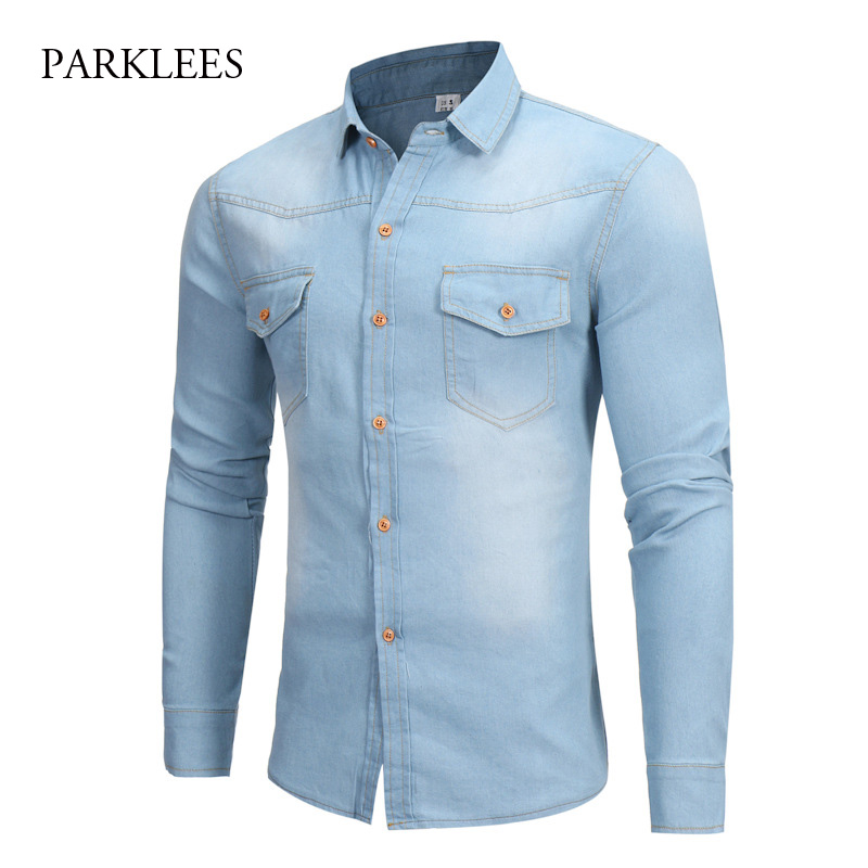 Sky Blue Cotton Denim Shirt Men 2018 Brand Hit Color Button Down Mens Slim Fit Dress Shirts Casual Long Sleeve 2 Pocket Chemise