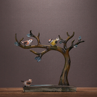Retro Birdies Miniatures Jewellery Display Rack Hand Painted Resin Tree Jewelry Organizer Decor Gift Craft Ornament Accessories