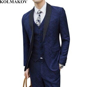 (Jacket+Vest+Pants) KOLMAKOV New Men Suits Wedding Dress Groom Suits Slim Fit S-5XL Luxury Printed Top Designer Mens Blue Suits