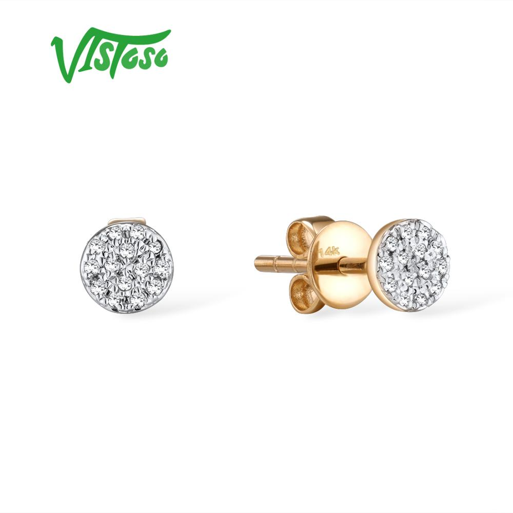 VISTOSO Gold Earrings For Women 14K 585 Yellow Gold Sparkling Diamond Dainty Round Cirle Stud Earrings