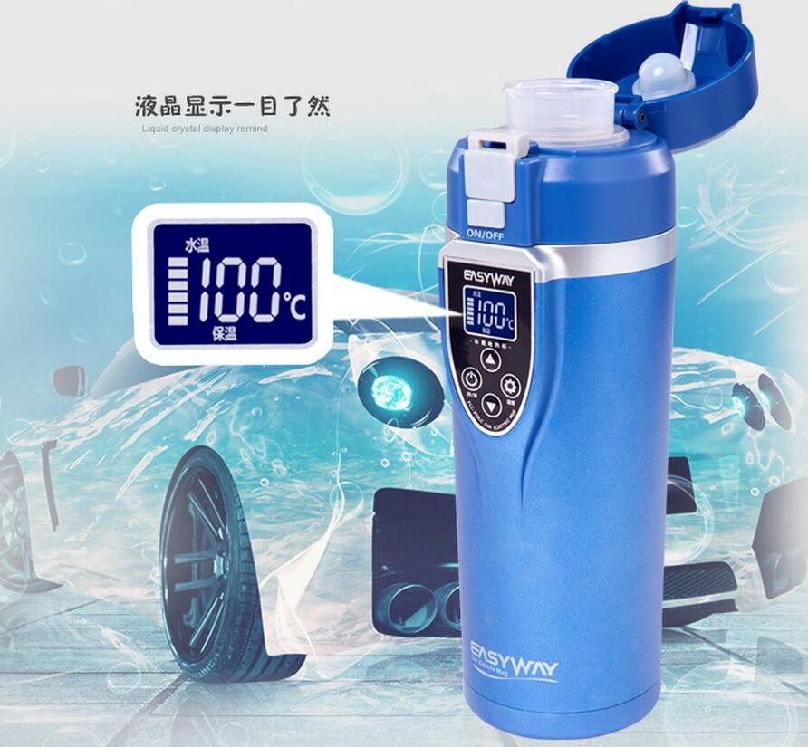 EASYWAY Hotsale 12V 24V Car Heater Cup 350mL ABS Stainless Steel Car Electric Heating Cup Hot Water Coffee Tea car mounted magnetized electric water heating cup blue transparent 250ml 12 24v