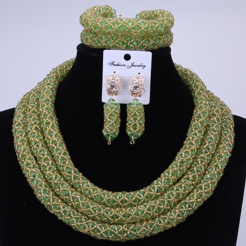 African jewelry set big collar Wedding Green Gold Crystal Beads Jewelry Set Elegant Nigerian Wedding Necklace