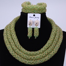 African jewelry set big collar Wedding Green Gold Crystal Beads Jewelry Set Elegant Nigerian Wedding Necklace Jewelry
