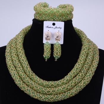 African jewelry set big collar Wedding Green Gold Crystal Beads Jewelry Set Elegant Nigerian Wedding Necklace Jewelry