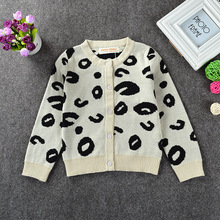 Fashion children's spring fall and winter clothes kids girls boys unisex sweater knit cardigan leopard long sleeve tops