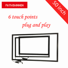 50 inch IR touch screen frame overlay kit 6 touch points overlay touch panel with tempered glass and belt