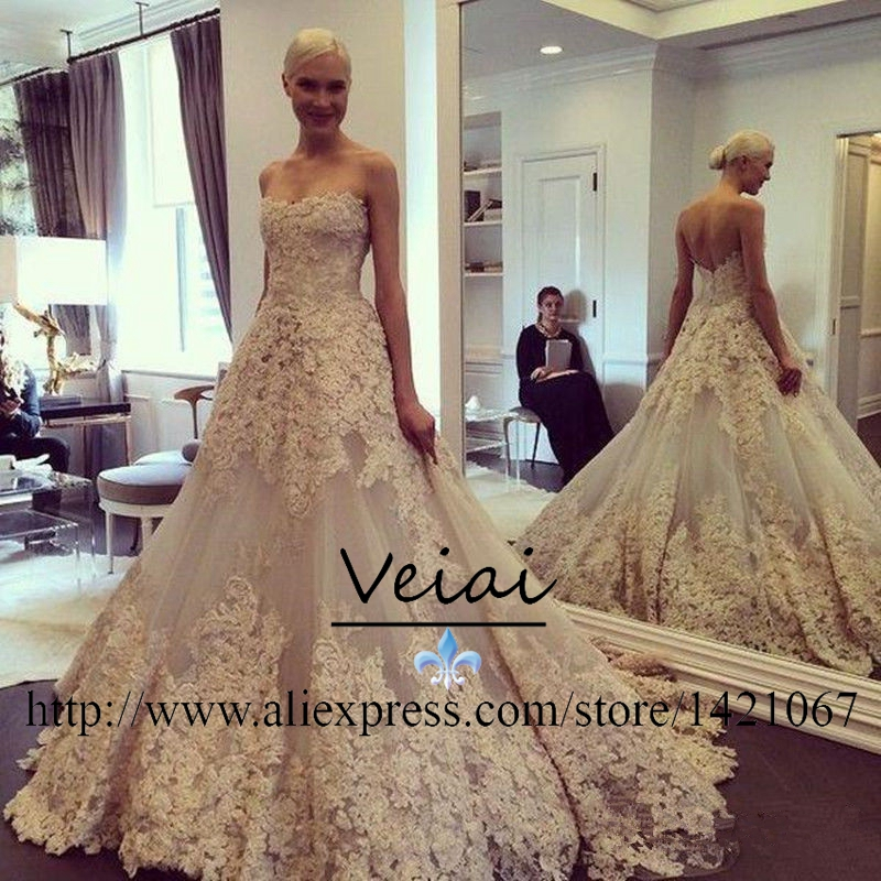 Champagne Vintage Wedding Dresses: Vintage Wedding Dress 2016 Lace Court Train Champagne Plus