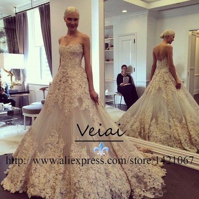 Vintage Wedding Dress 2016 Lace Court Train Champagne Plus Size robe ...