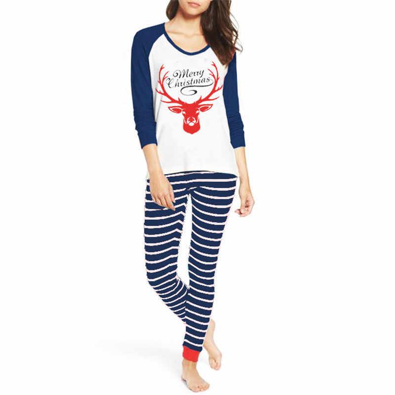 חורף חם משפחה התאמת חג המולד פיג 'מה סט נשים תחתון פסים צביים הדפסת חולצות T חולצה הלבשת