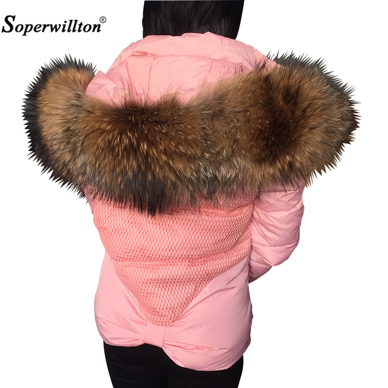 New Woman Winter Coats Black Red Large Raccoon Fur Collar Hooded Coat Parkas Outwear 2 in