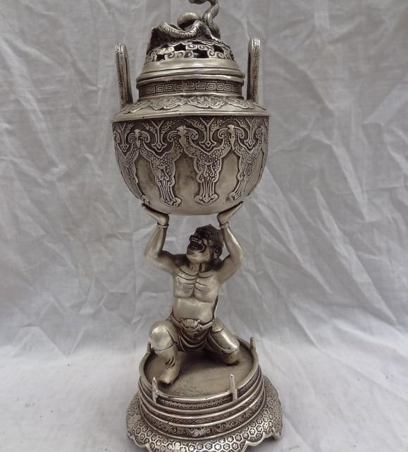free shipping 13 tibet silver dragon japan vajra devil buddha