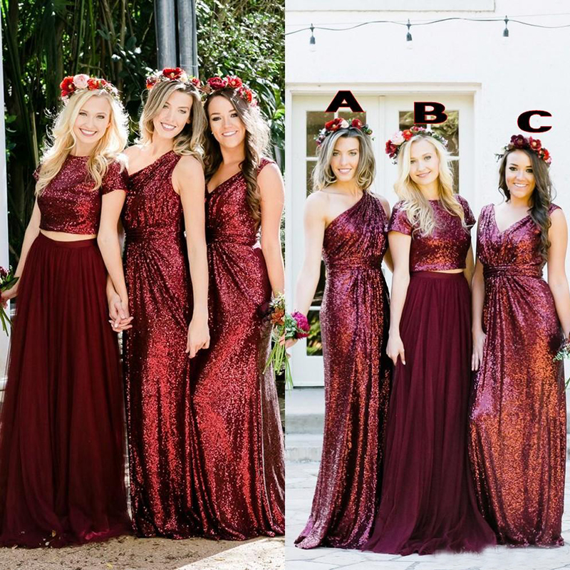 Burgundy Sequins Bridesmaid Dresses Country Mixed Custom