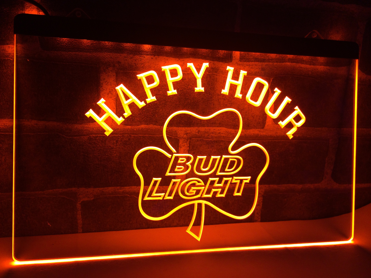 la665 bud light shamrock happy hour beer bar neon sign home decor crafts in plaques signs from. Black Bedroom Furniture Sets. Home Design Ideas