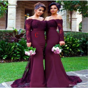 2019 Mermaid Bridesmaid Dresses Weddings Party Gowns Off Shoulder Long Sleeve Lace Appliques Plus Size Maid of Honor Dress