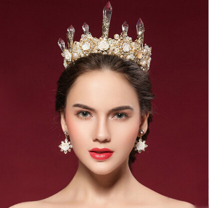 Continental retro crystal crown Queen bride wedding hair accessories big white crystal tiara Baroque crowns with earrings