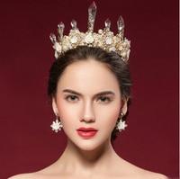 Continental retro kryształ korona Królowej ślubu panna młoda akcesoria do włosów duży biały kryształ tiara korony Barokowy z kolczyki