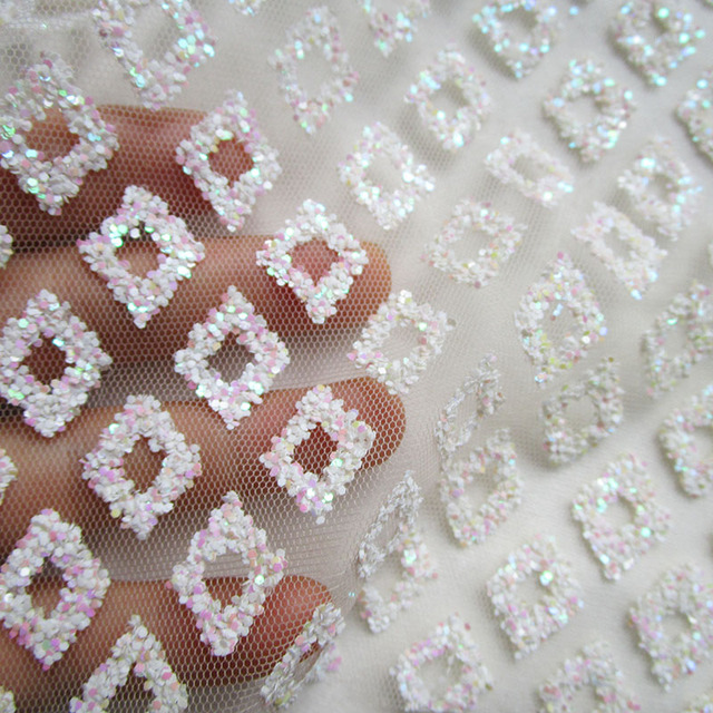 360cm 145cm pink white grid printed glitter net fabric french glued sequins  prom dresses mesh bb0bf0ff7750