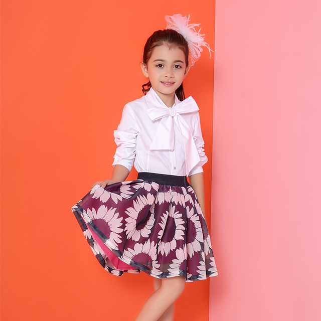 Children Spring and Autumn Skirts New New Arrival 2016 Candydoll Sunflower Printing Cotton Kids Girls Skirt
