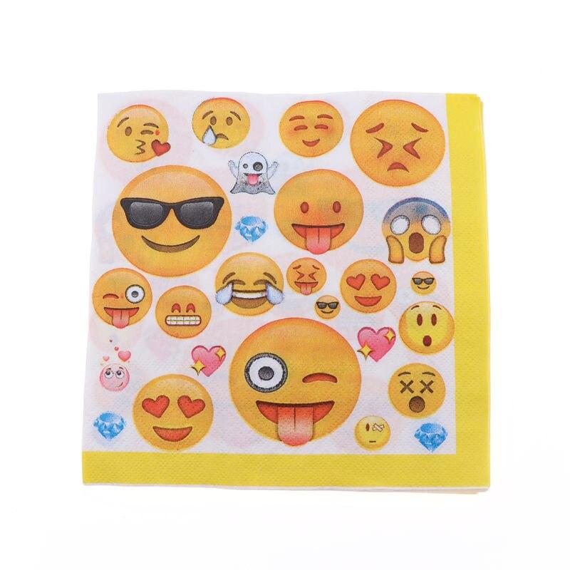20pcs/lot Emoji Face Yellow Paper Napkins Party Decoupage Towels Party Supplies Birthday Decoration Theme Emoji Face Favor
