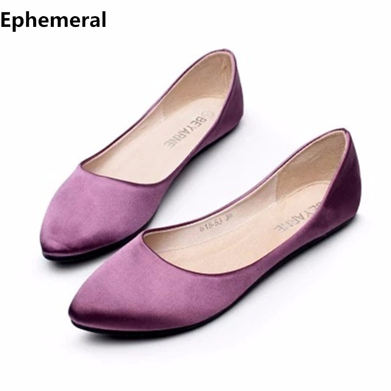 Ladies flat shoes silk satin fabric pointed toe for women loafers breathable soft sole slip-ons european style larger size 14 15 summer slip ons 45 46 9 women shoes for dancing pointed toe flats ballet ladies loafers soft sole low top gold silver black pink