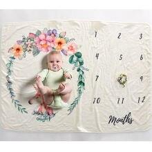 Сделай Сам фотография веха одеяло реквизит для малышей печать