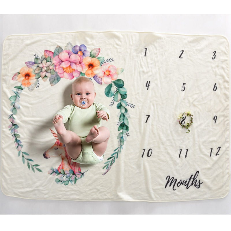 Us 13 59 21 Off Diy Photography Milestone Blanket Baby Props Printed Newborn Photography Wrap Blankets 102 152cm Bigger Size In Blanket Swaddling
