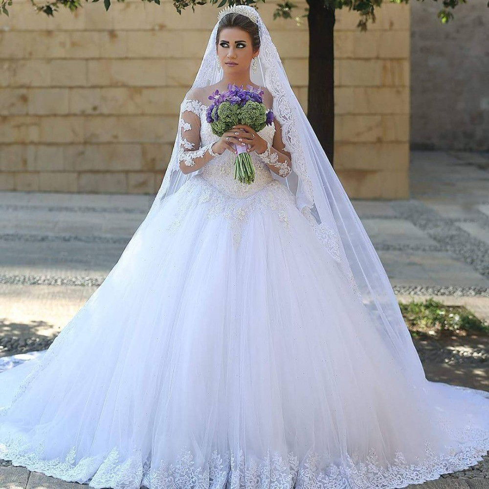 Beautiful Bridal Gown With Cathedral Train Long Sleeves