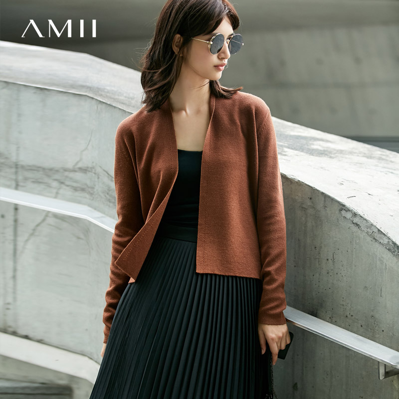 Amii Minimalist Casual Women Cardigan 2019 Solid Hollow Open Stitch Female Knit Cardigan Sweaters