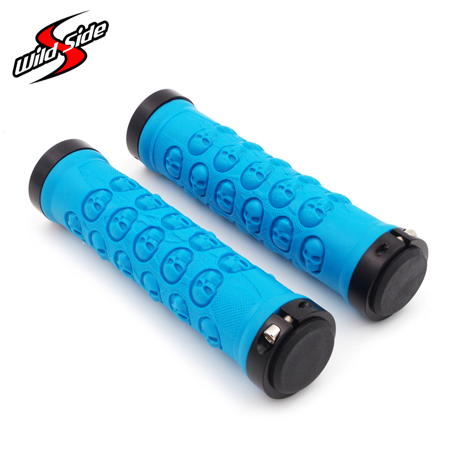 Hot Sale Cycling Bike Grips Skull Style MTB Road Lockable Aluminium Alloy Rubber Cycling Grip for 22.2mm Handlebar <font><b>Bicycle</b></font> <font><b>Parts</b></font> image