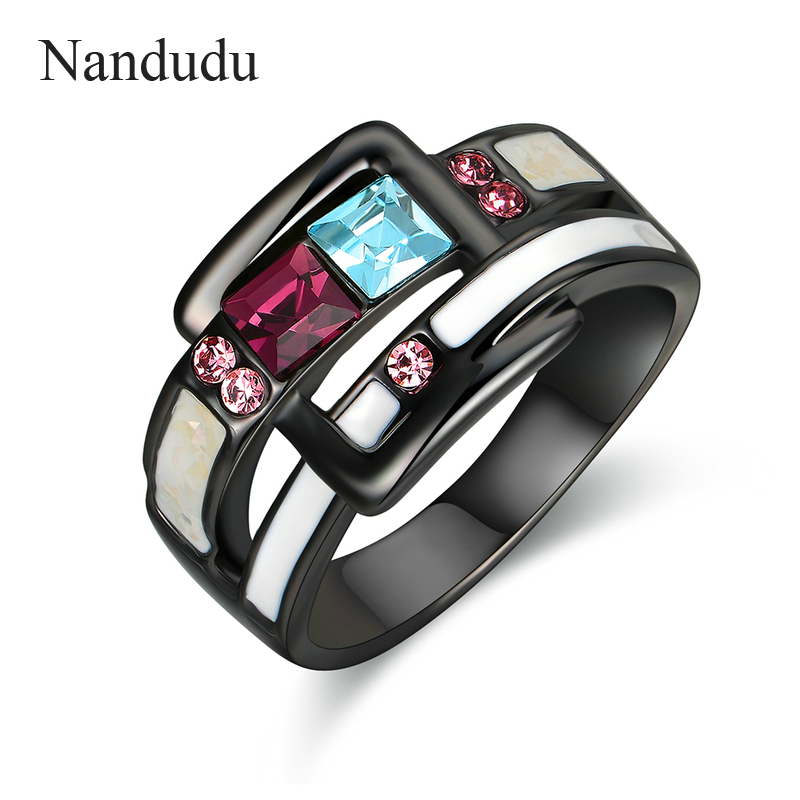 Nandudu Gun Color with AAA Zircon Enamel Rings for Women Girl Lady Christmas New Year Jewelry Gift Accessories R1923