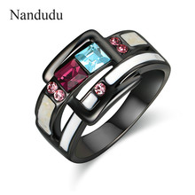 Nandudu Gun Color with AAA Zircon Enamel Rings for Women Girl Lady Christmas New Year Jewelry Gift Accessories R1923(China)