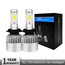 LED Headlight Bulbs H4 Hi-Lo Beam H7 H11 H1 H3 9005 9006 COB 72W 8000lm 4300K 6500K Auto Headlamp Car Led Light Bulb DC12v 24v(China)