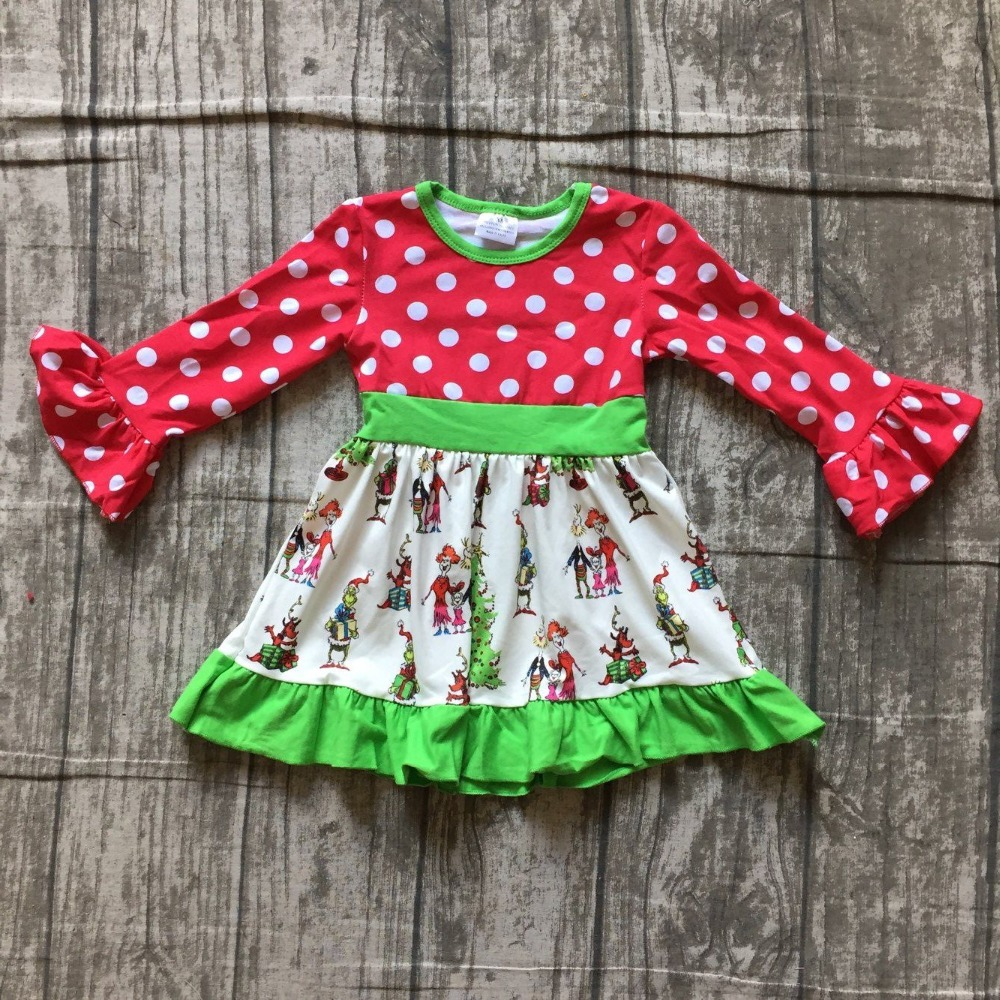 new Christmas girls children clothes baby grinch print cotton Fall/Winter white red long sleeve ruffles dress boutique polka dot stylish women s short sleeve polka dot print dress