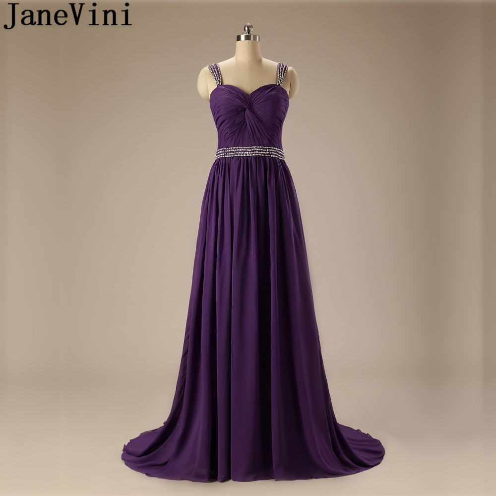 JaneVini Long Purple Bridesmaid Dresses Plus Size Sequined Chiffon Prom  Gowns Vestiti Damigelle Beaded Women Wedding Party Dress 56076f9485b6