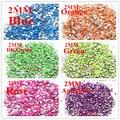 Nail Art decoração de Metal Mix cor 6000 PCS 2 MM rodada fluorescente 3D liga strass para unhas