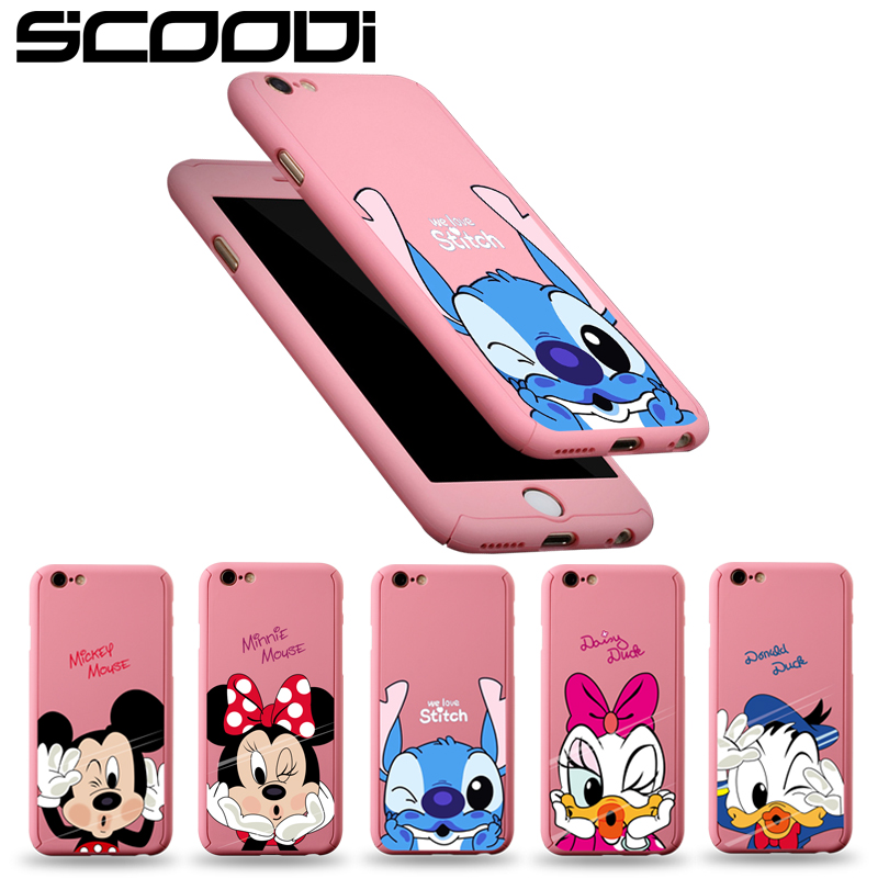 360 Protective Case For iPhone 6 6S 7 8 Plus Mickey Mouse Front Back Cover For iPhone X 5 5S SE Full Body Coverage Shell capa