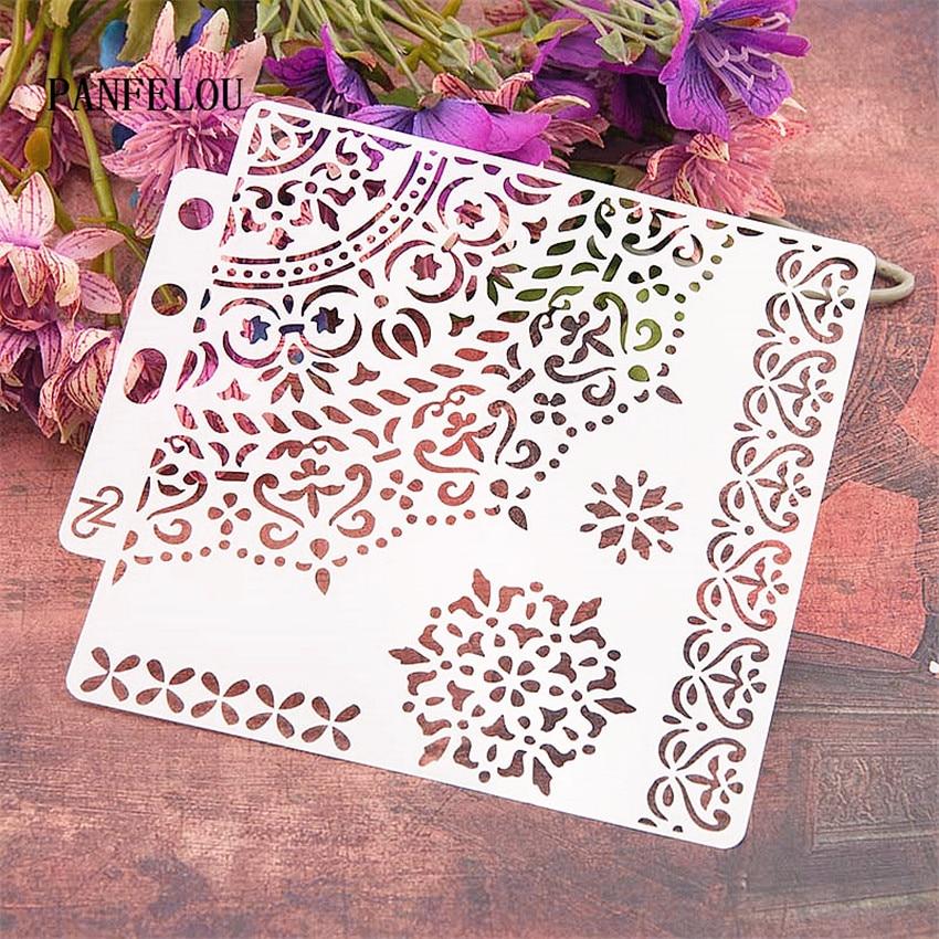 Bud Silk Wreath Scrapbook Stencils Spray Plastic Mold Shield DIY Cake Hollow Embellishment Printing Lace Ruler Valentine