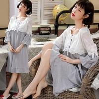 Summer Thin Cotton Patchwork Lace Mother Nursing Nightdress Breastfeeding Sleepwear for Pregnant Women Postpartum Feeding Lounge