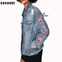 high quality 2018 Fashion Jeans Jacket Wome Denim Jackets lace decorated spring denim jacket jaqueta feminina